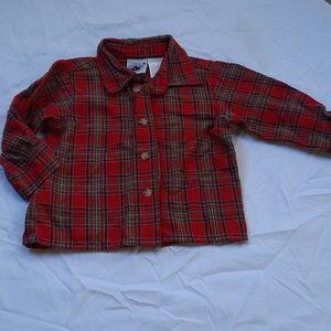 Sz 12 mnth Christmas red plaid button down shirt